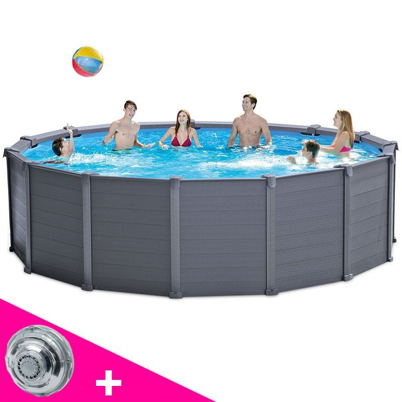 Piscine Tubulaire Ronde Intex Graphite 4,78 X H1,24M En ... à Intex Graphite 4.78