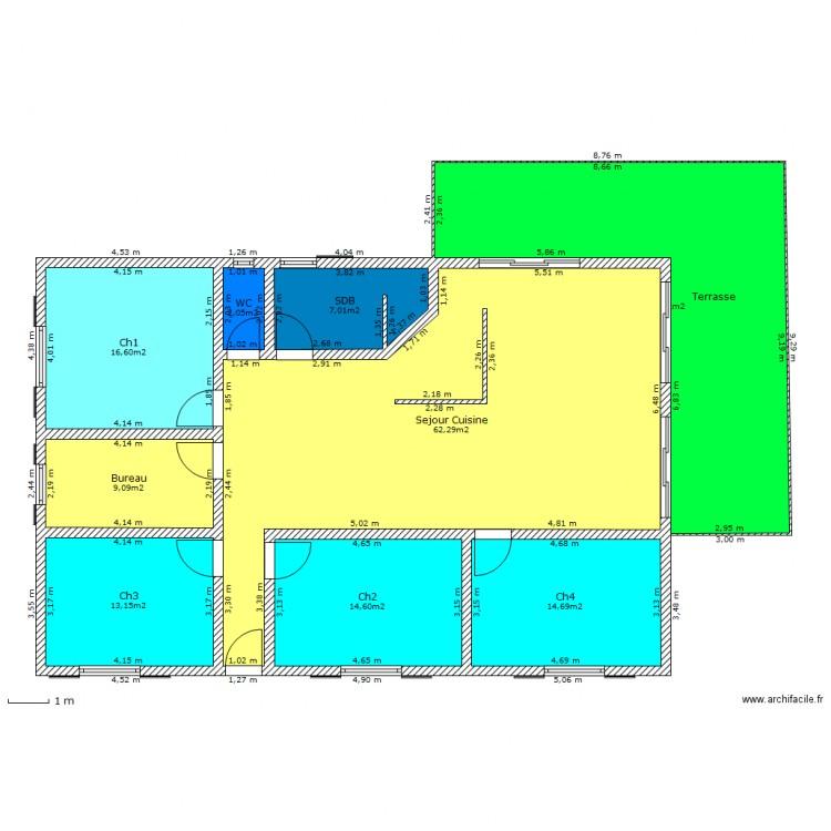 Plein Pied 150 M² 4 Ch - Plan 9 Pièces 180 M2 Dessiné Par ... avec Gertrud+Franck+Plan+Jardin
