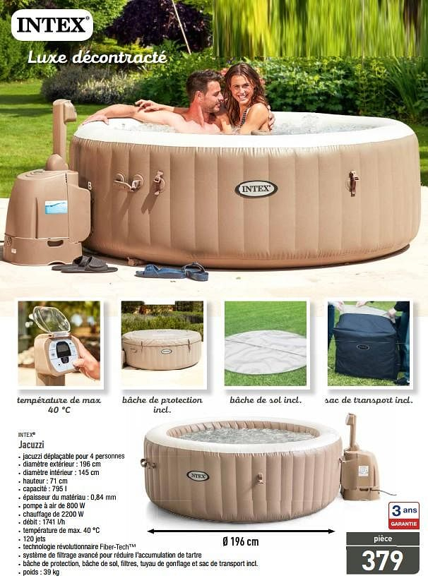 Promotion Cora: Spa Gonflable - Opblaasbare Spa Bubble ... serapportantà Piscine Miami Carrefour
