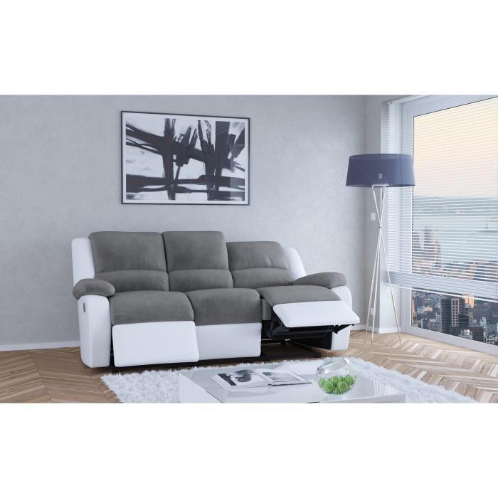Relax Canape De Relaxation En Simili Et Tissu 3 Places ... serapportantà Canapé Relax Et Convertible