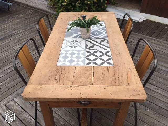 Renover Une Table Basse En Bois Et Carrelage   Idées ... dedans Comment Fabriquer Une Table De Ferme En Bois