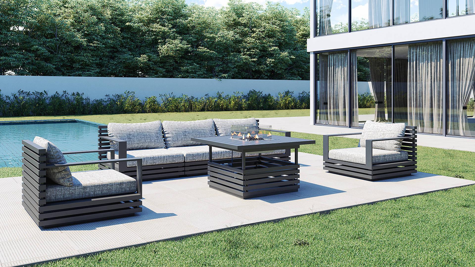 Rn-4 M Lounge Garnitur Mit Höhenverstellbaren Feuertisch ... dedans Artelia Feuertisch