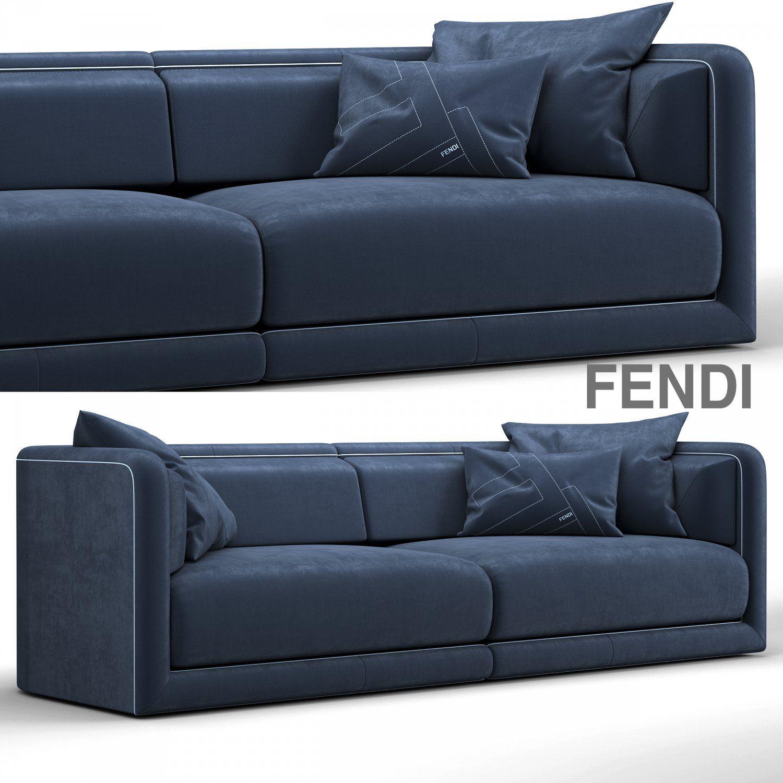 Royalty Free Fendi Casa Conrad Maxi Sofa Blue 3D Model By ... destiné Canapé Conrad