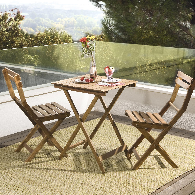 Salon De Jardin Acacia Bois Marron 1 Table Et 2 Chaises ... dedans Paravent De Jardin Leroy Merlin