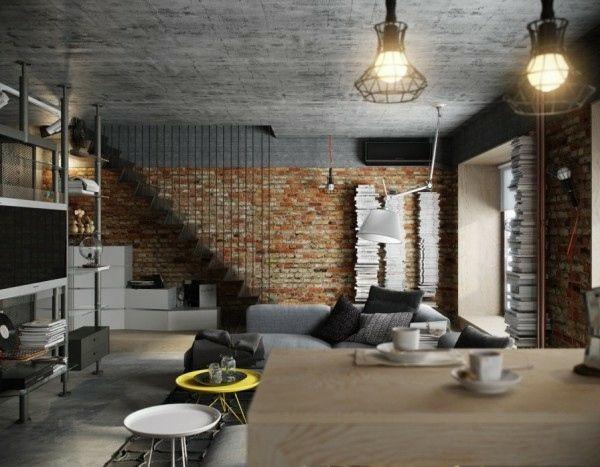Salon En Brique Rouge Déco | Briques | Brique Décorative ... serapportantà Decoration Brique Rouge Style Loft New Yorkais