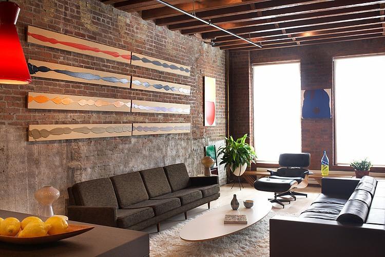 Salon-Style-Loft-Brique-Poutre-Apparente - Picslovin concernant Decoration Brique Rouge Style Loft New Yorkais