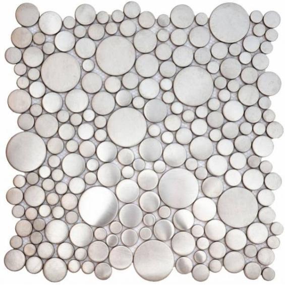Shop Now Brushed Silver Penny Rounds Inox Metal ... intérieur Actual Bati