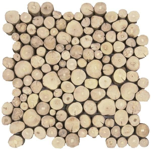 Shop Now Coffee Tree Wood Mosaic Interlocking Tile | Bati ... pour Actual Bati
