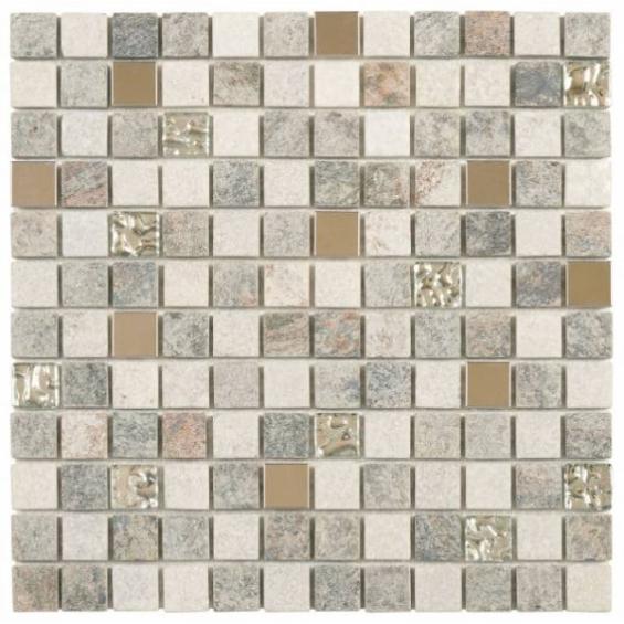 Shop Now Grey Beige Glass Quartzite And Metal Decor Tile ... pour Actual Bati