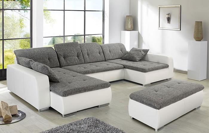 Sofa, Couch Ferun 365X200/185Cm Mit Hocker, Hellgrau Weiß ... intérieur Sofa Mit Hocker Quinn