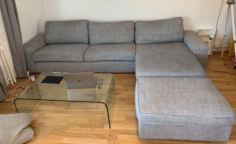 Sofa Ikea Kivik 3Er-Sofa Mit Hocker | Kaufen Auf Ricardo intérieur Sofa Mit Hocker Quinn