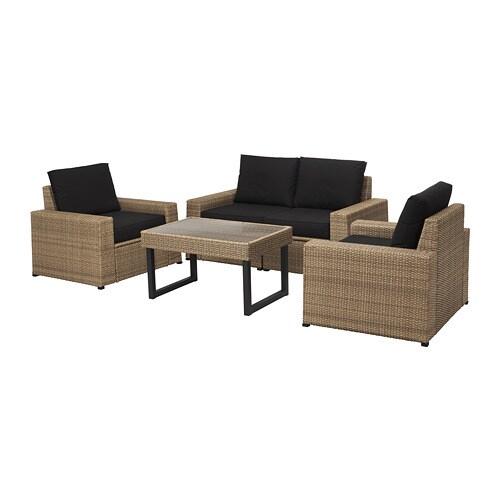 Sollerön 4-Seat Conversation Set, Outdoor - Brown/Kungsö ... intérieur Ikea Solleron Review