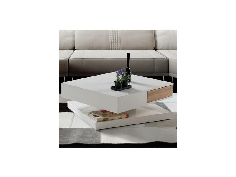 Table Basse Design Laqué Blanc Et Couleur Bois Romane ... avec Canapé Romane Conforama
