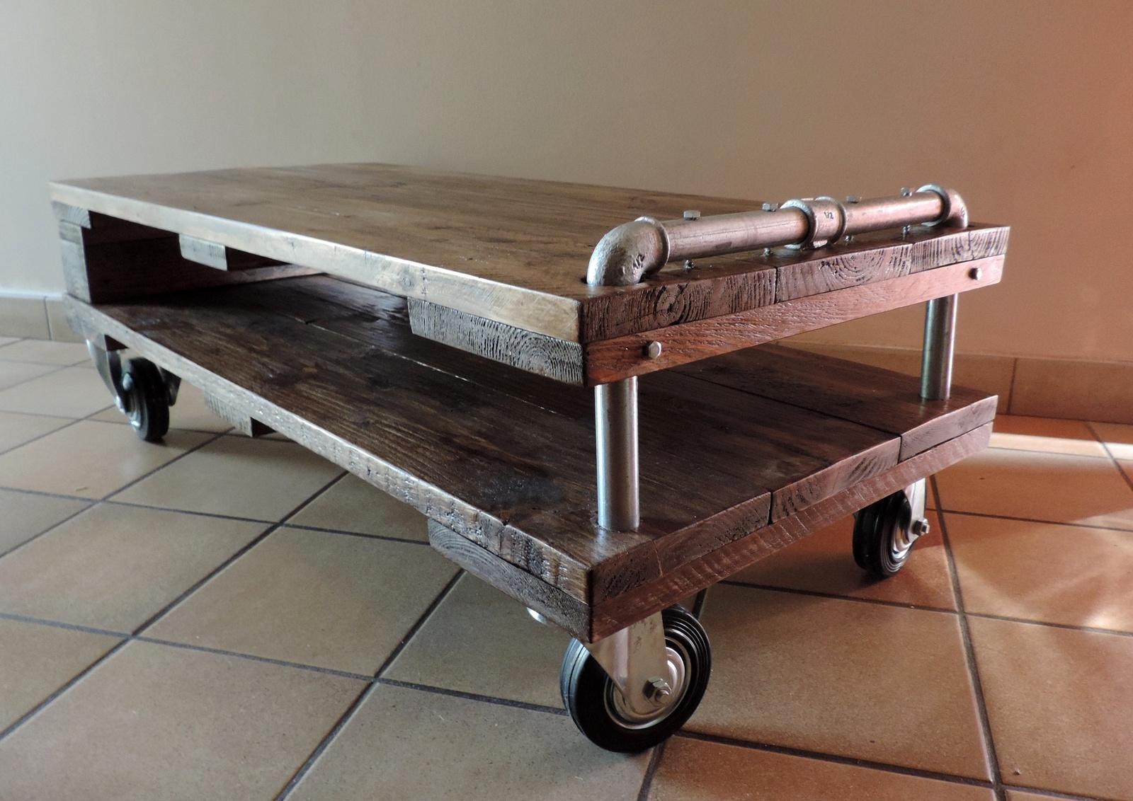 Table Basse Style Industriel Palette - Boutique-Gain-De ... pour Palette Plastique Castorama