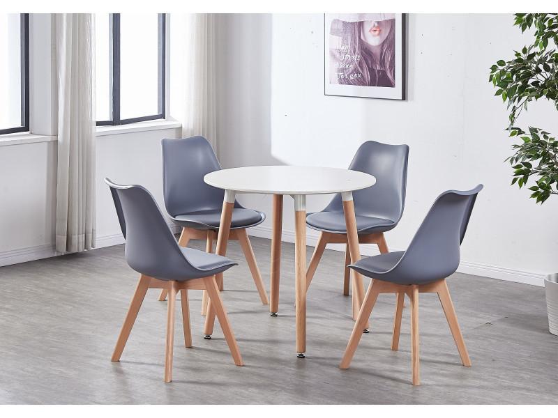 Table Blanche Ronde + 4 Chaises Scandinaves Grises ... avec Table Avec Chaise Encastrable Conforama