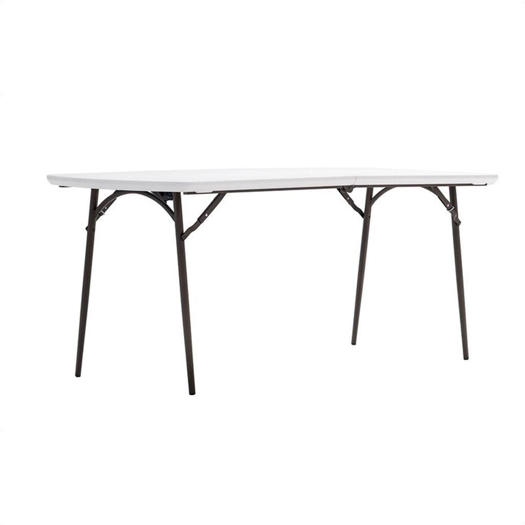 Table En Polyéthylène Pliante 180 Cm - Blanc Et Marron ... concernant Table Pliante 180 Cm Leclerc