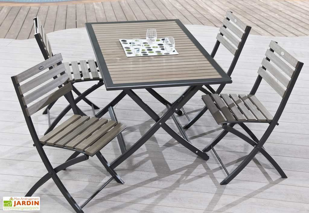 Table Jardin Pliante Bois Composite Et Aluminium (140X80 ... pour Centrakor Table De Jardin Pliante