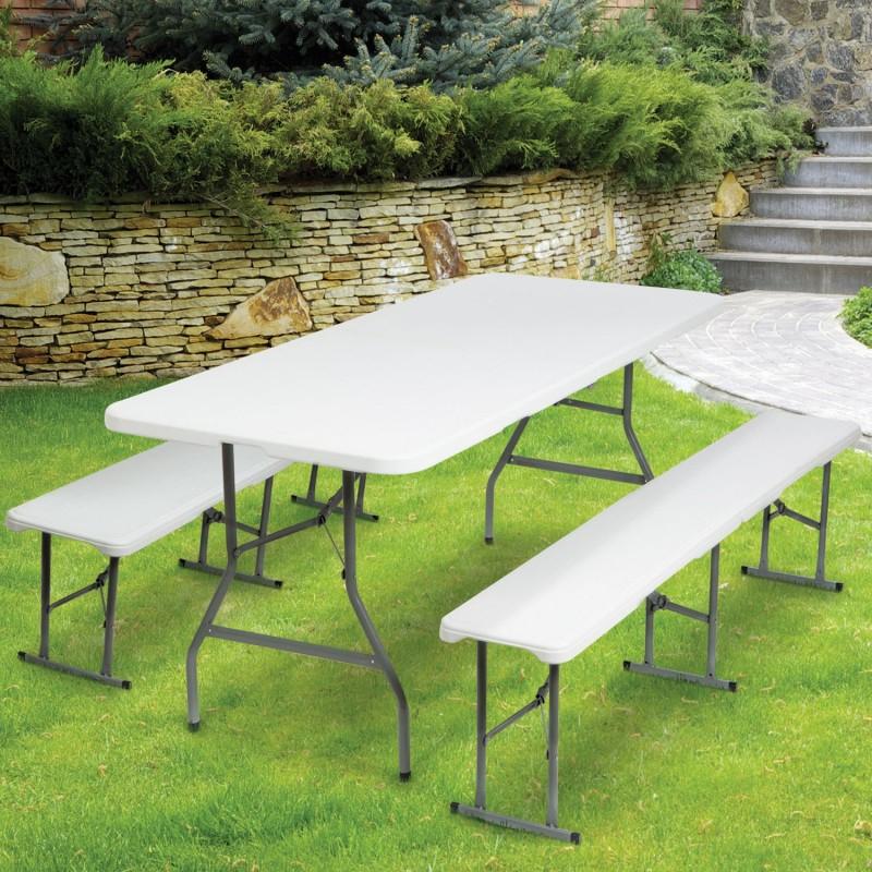 Table Pliante Portable 180 Cm Et 2 Bancs Pliables Pour ... destiné Table Pliante 180 Cm Leclerc