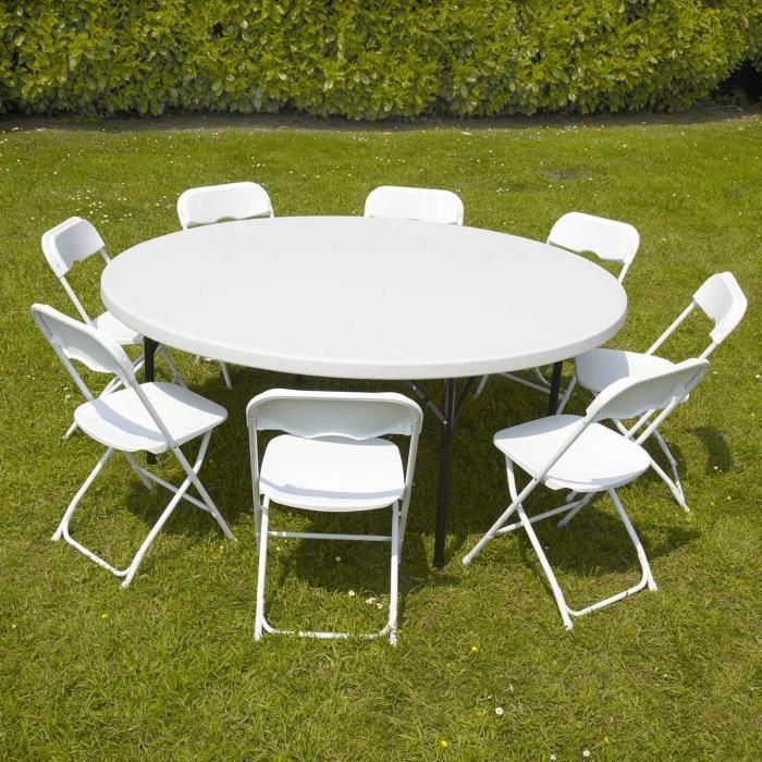 Table Ronde Et Chaises Pliantes De Jardin 180 Cm - Achat ... destiné Table Pliante 180 Cm Leclerc