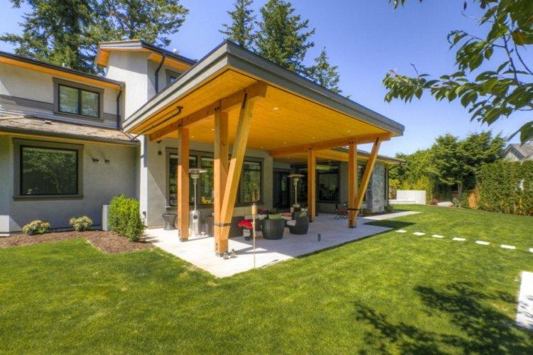 Terrasse Couverte - Auvent Terrasse Ou Pergola Pour ... tout Plan Pergola Bois Couverte