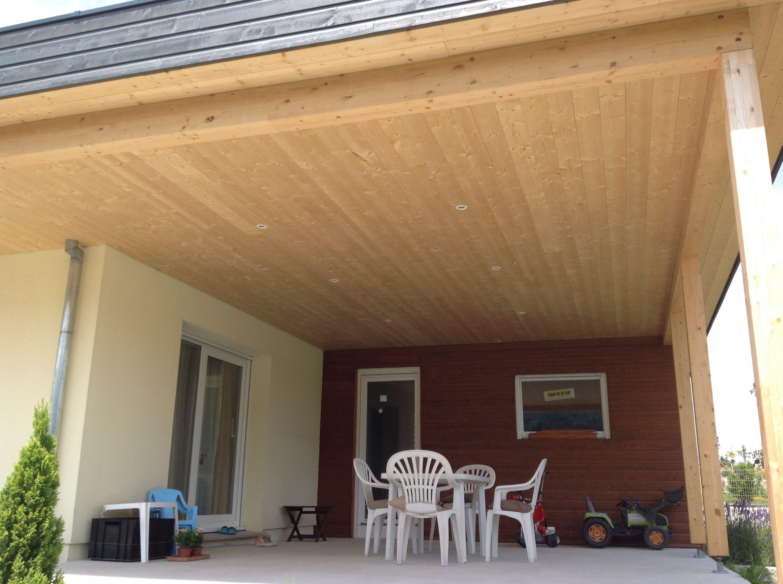 Terrasse Toit Plat Et Garage Attenant - Abt Construction Bois avec Terrasse Couverte Avec Poteaux Beton