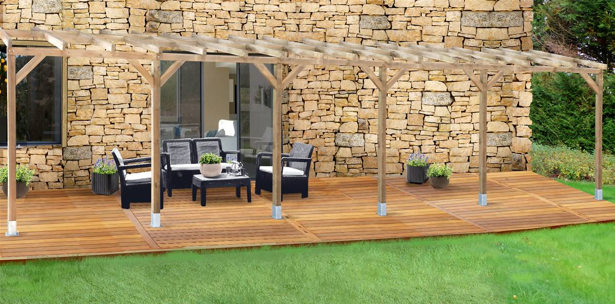 Toit Couv'Terrasse® En Bois 3X10,4 M - Sans Toit Polycarbonate pour Toit Terrasse Sans Acrotère