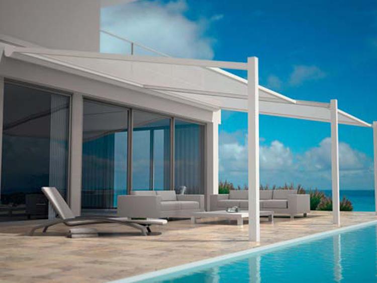 Toiture Terrasse Minimaliste Avec Vue Panoramique Et Store avec Toiture Terrasse Sans Acrotère