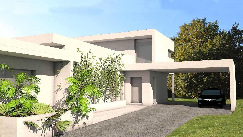 Villa D'Architecte Contemporaine Avec Casquettes Et Porte ... destiné Faux Toit Plat